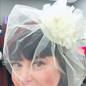 David's Bridal birdcage blusher veil